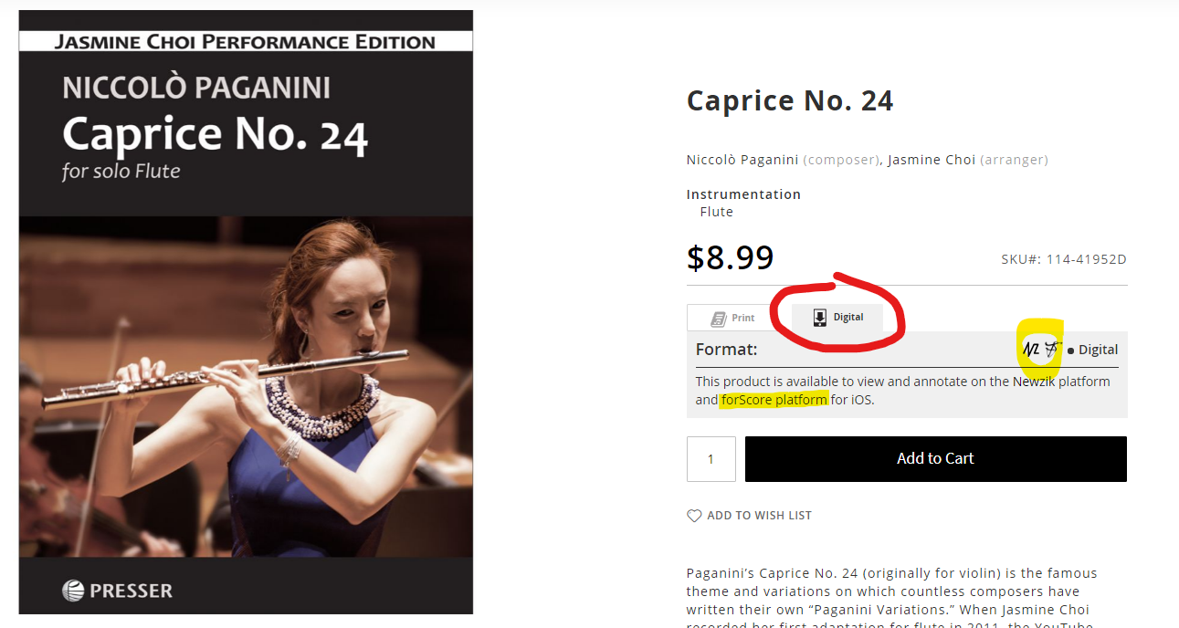 Choi's Caprice No. 24 on iPad and product page screenshot