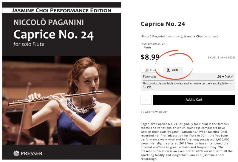 Choi Paganini Caprice on iPad and product page screenshot